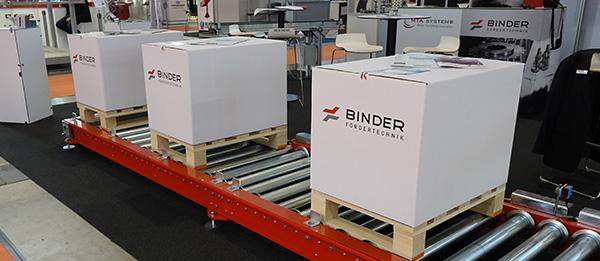 Auf der LogiMAT 2016 präsentierte Binder Fördertechnik sein neues System zum staudrucklosen Fördern bis 1.500kg