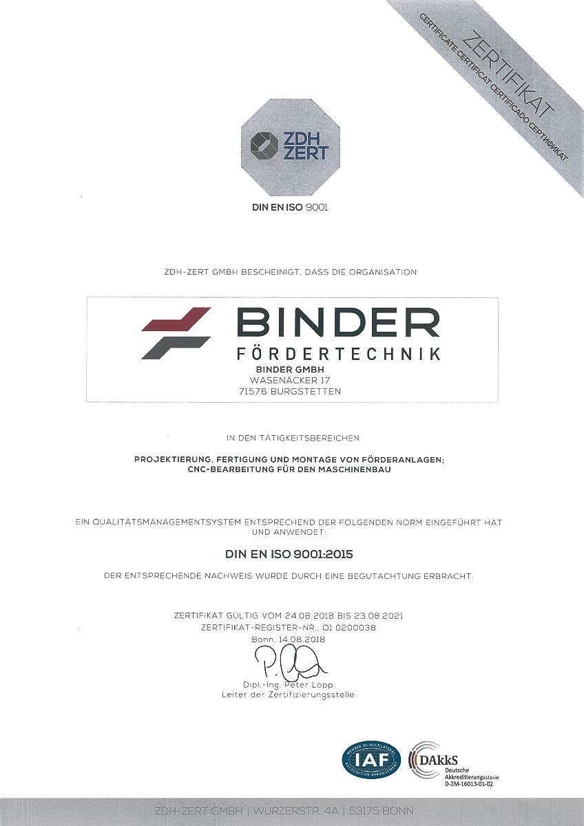 DIN ISO 9001-Zertifkat von BINDER – Ihrem Experten für Materialfluss-Lösungen.