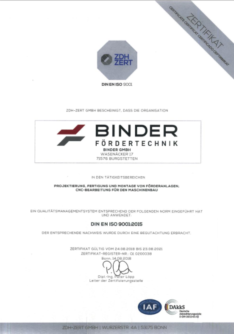 BINDER – Zertifizierung nach DIN ISO 9001:2015